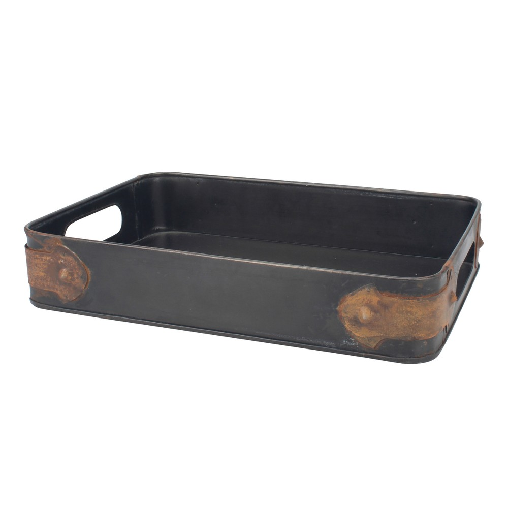 Image of Slate Steel Tray with Rust Trim - Brown - Stonebriar