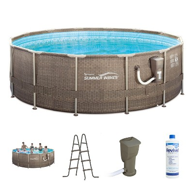 Summer Waves P20014482 14ft x 48in Round Frame Above Ground Swimming Pool Set with Skimmer Filter Pump, Cartridge, Treatment Cleaner & Ladder, Brown
