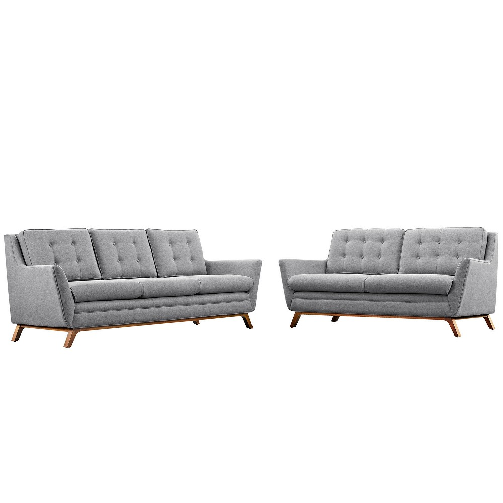 Beguile Living Room Set Upholstered Fabric Set of 2 Expectation Gray - Modway