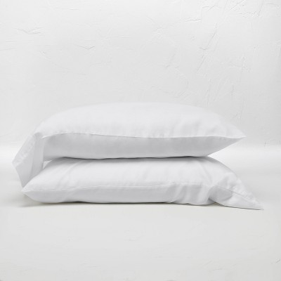 Standard 400 Thread Count Washed Lyocell Solid Pillowcase Set White - Casaluna™