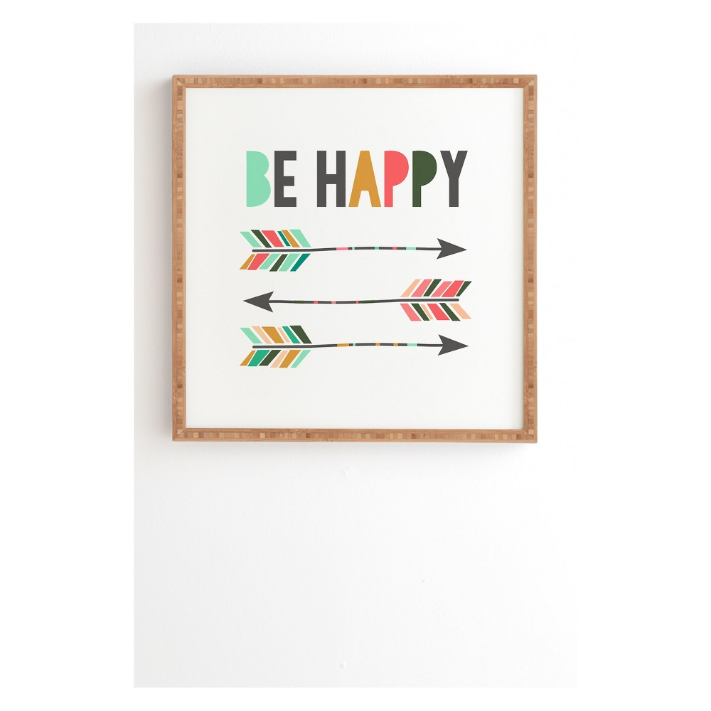 "Image of ""20""""x20"""" Chelcey Tate Be Happy Framed Wall Art Poster Print Brown - Deny Designs"""