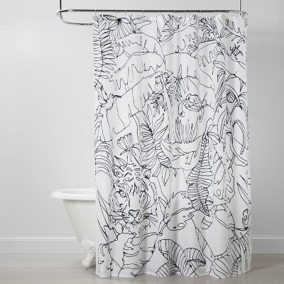Tiger Shower Curtain White/Blue - Opalhouse™