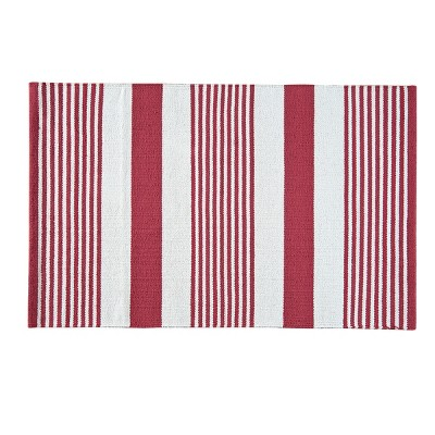 2'x6' Rectangle Indoor and Outdoor Stripe Accent Rug Red - C&F Home