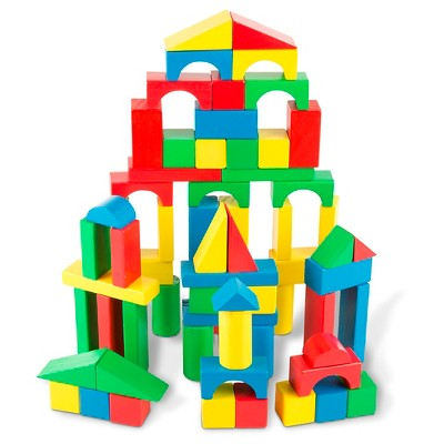 Melissa & Doug Wooden Building Blocks Set - 100 Blocks