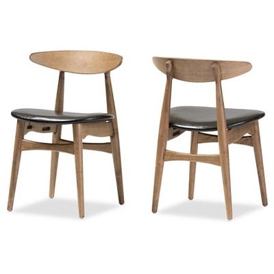 Set of 2 Edna Mid-Century Modern French Black Faux Leather & Oak Light Brown Finishing Wood Dining Chairs - Baxton Studio