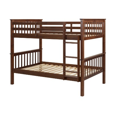 Twin Over Twin Transitional Cottage Solid Pine Bunk Bed Walnut - Saracina Home