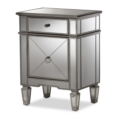 Claudia Hollywood Regency Glamour Style Mirrored Nightstand - Baxton Studio