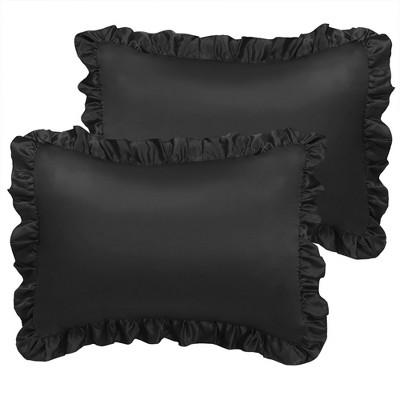 "2 Pcs 20""x26"" Silk Satin Envelope Pillow Cases Black - PiccoCasa"