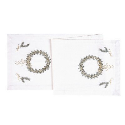 """C&F Home 14"""" x 51""""  Golden Greenery Cotton Embroidered Table Runner"""