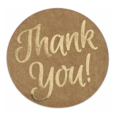 2 Sheets of THANK YOU Stickers/' THANK YOU GOLD FOIL SCRIPT Paper Studio