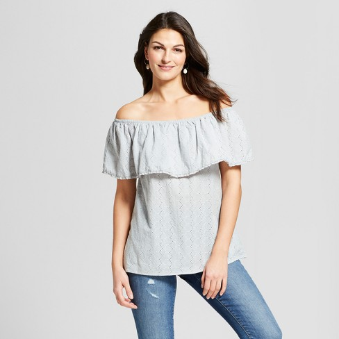 420d7ae2a437ff Women's Short Sleeve Eyelet Off the Shoulder Top - Knox Rose™ Dusty Teal
