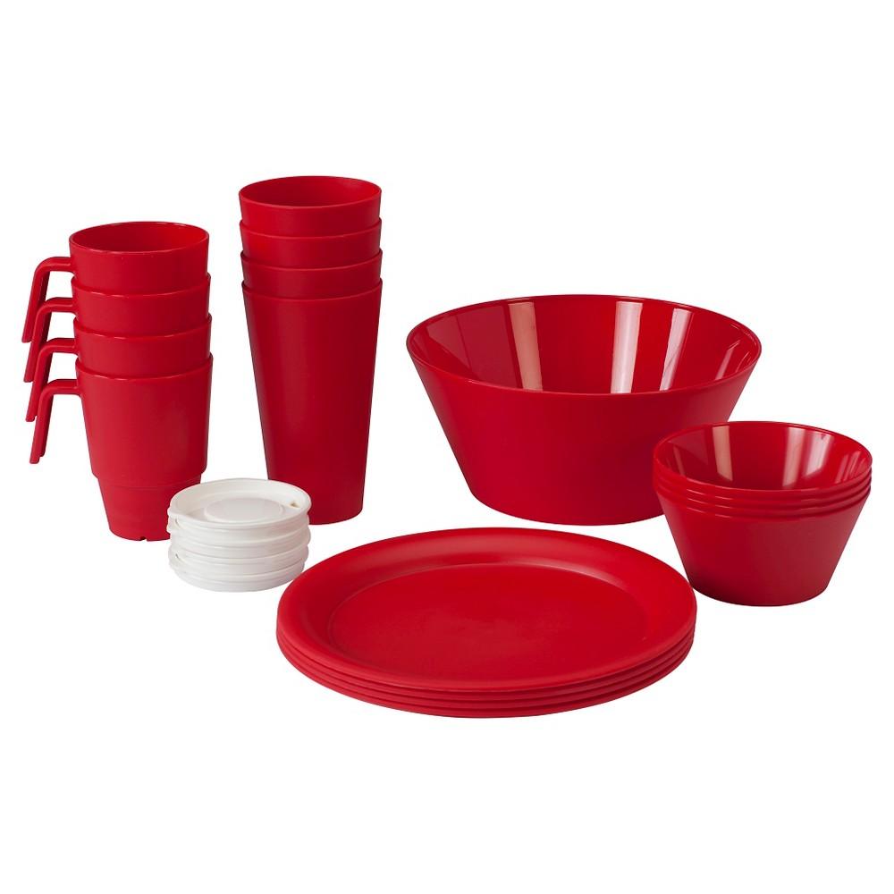Image of CreativeWare Acrylic 21pc Dinnerware Set Red