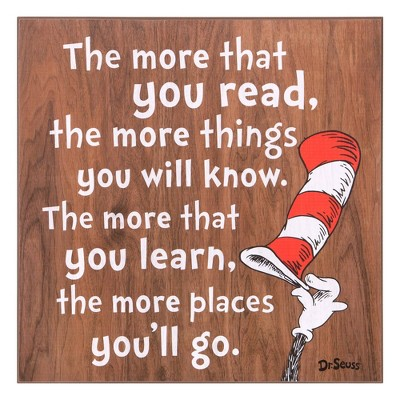 """18""""x18"""" Dr. Seuss The More You Read Cat In The Hat Wood Wall Art"""