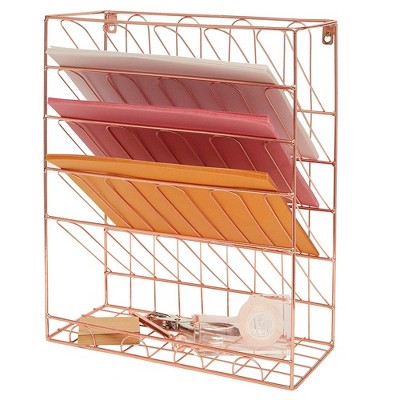 Paper Junkie Rose Gold 6 Tier Wall Mount Hanging File Organizer Document Letter Tray 13x6x16 in