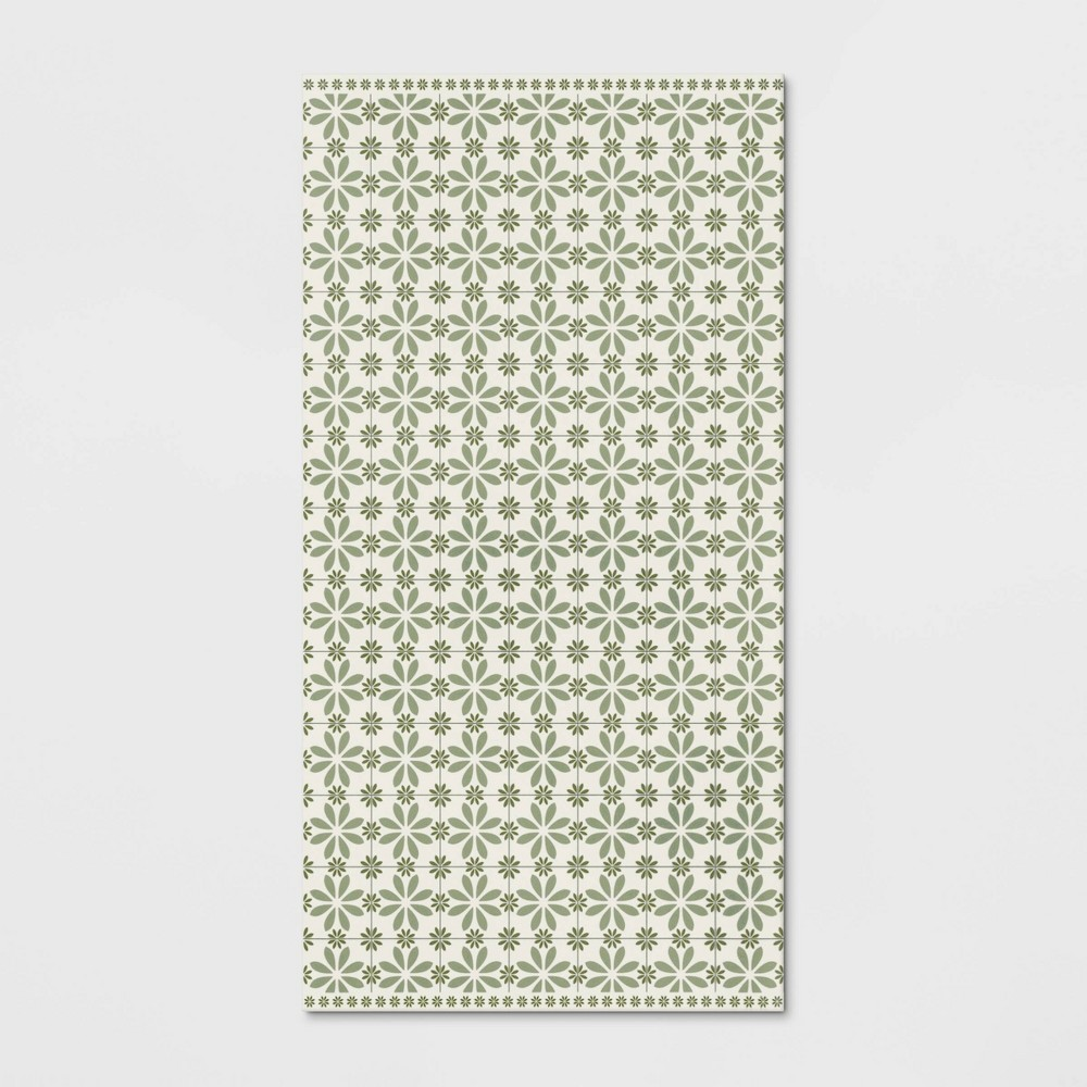 2x4 vintage tile vinyl floor mat green threshold