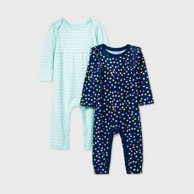 Baby Girls' 2pk Dot Long Sleeve Romper - Cat & Jack™ Blue 0-3M