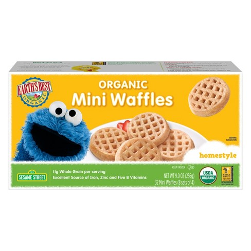 Earth' s Best Sesame Street Cookie Monster Organic Homestyle Frozen Mini Waffles - 9oz - image 1 of 1