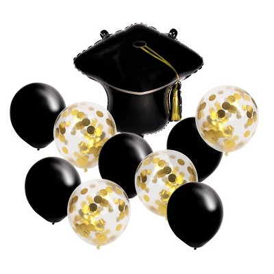 10ct Latex Balloon Pack and Graduation Cap with Foil - Spritz™
