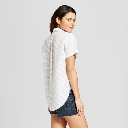 58a9f224f728f Women s Short Sleeve Stripe Button-Down Shirt - Universal Thread™ Blue  Stripe