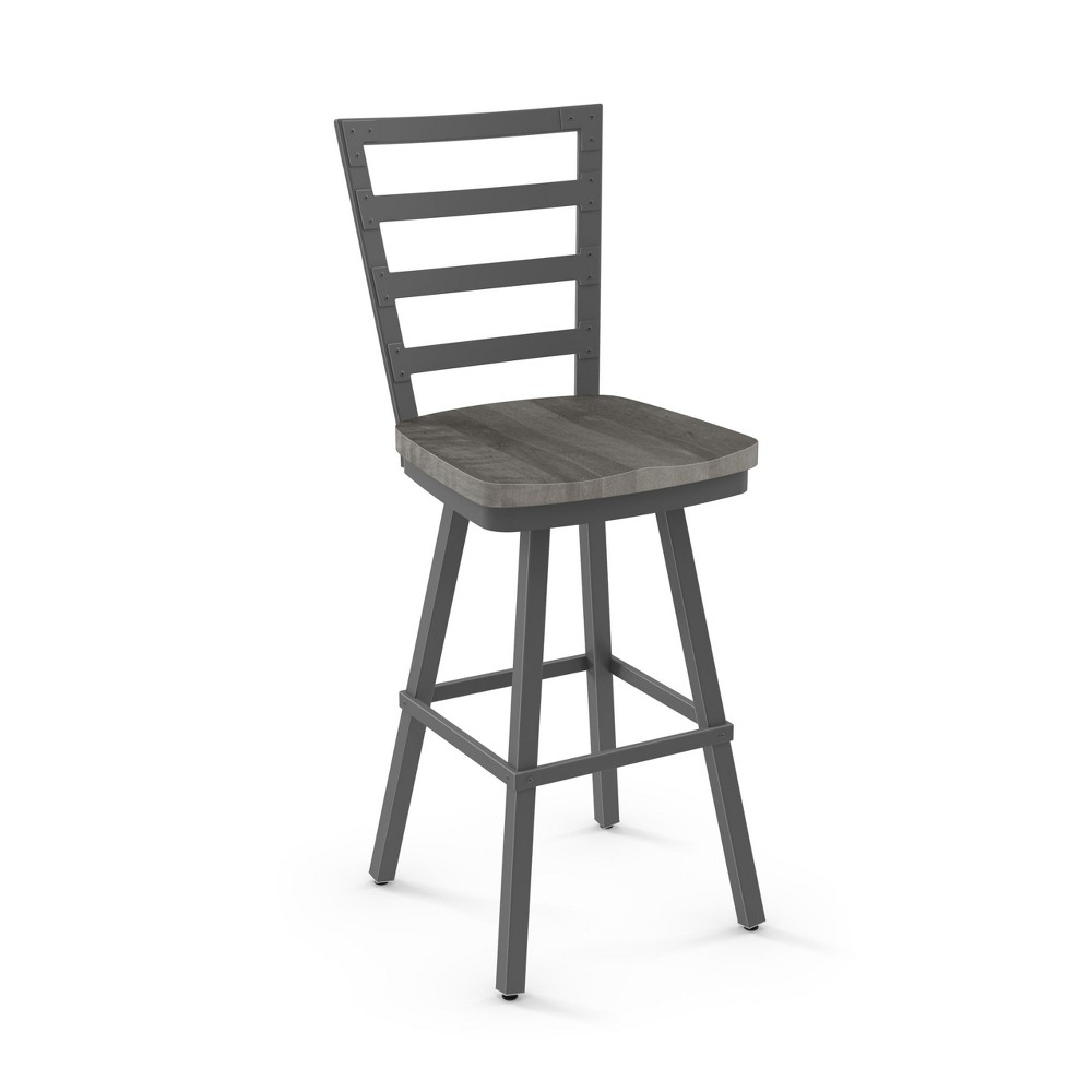"Image of ""25.25"""" Amisco Prescot Counter Stool with Gray Wood Seat Matte Dark Gray Metal"""