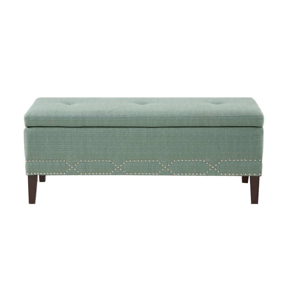 Dupree Lift Top Padded Storage Bench with Silver Nail Head Accent Blue