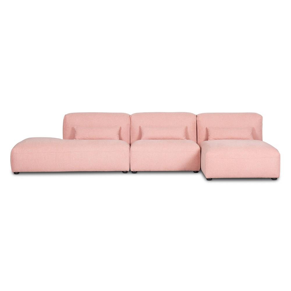 3pc Tourbino Left Armless Modular Sofas Carnation Pink Poly 38 Bark