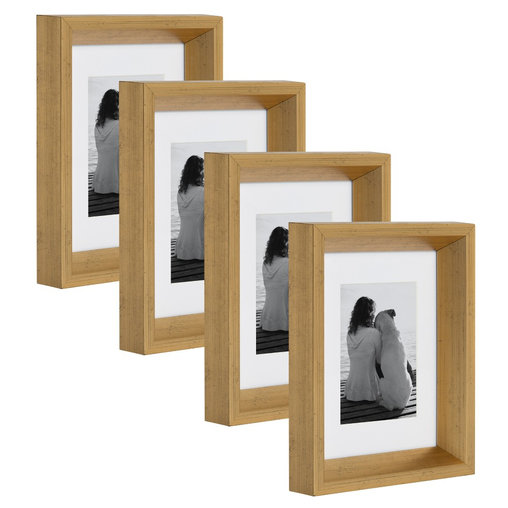 """Image of """"5""""""""x7"""""""" Calter Photo Frame Set Gold - Kate & Laurel All Things Decor"""""""