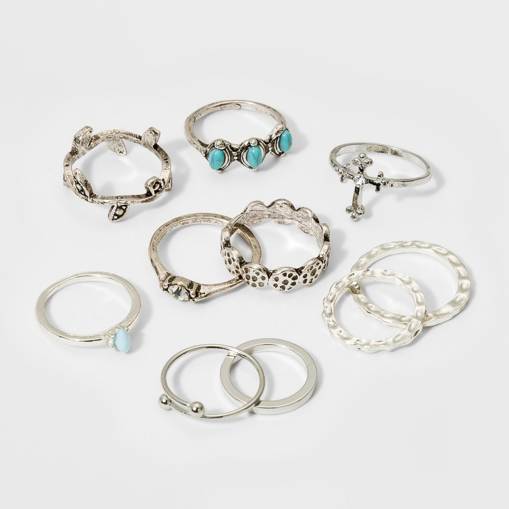 Leaves, Cross, Shiny and Textured Single Ring Set 10pc - Wild Fable Dark Silver