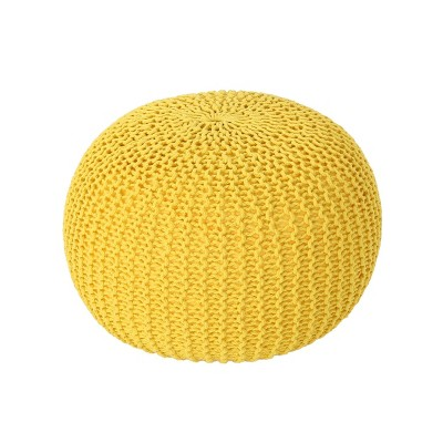 Abena Knitted Cotton Pouf Yellow - Christopher Knight Home