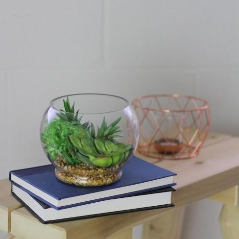 Northlight 4 75 Artificial Succulent Arrangement Glass Terrarium