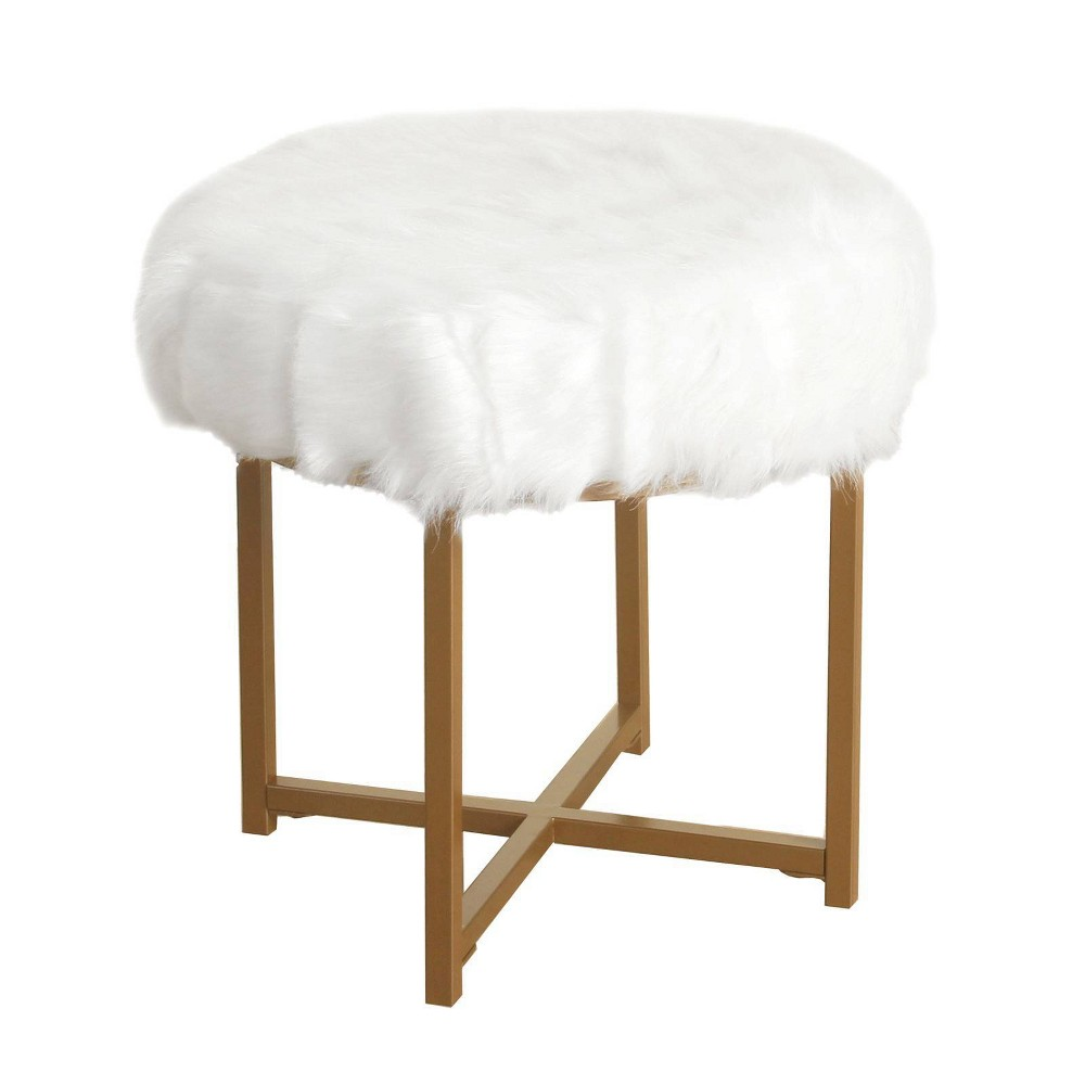 Image of Round Faux Fur Upholstered Stool with X Shape Metal Base White and Gold - Benzara