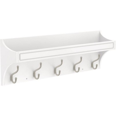 """Franklin Brass 28"""" Classic Arch Trayed Decorative Hook Rack Pure White/Nickel"""