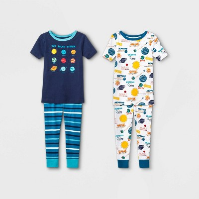 Toddler Boys' 4pc 100% Cotton Space Snug Fit Pajama Set - Cat & Jack™ Blue