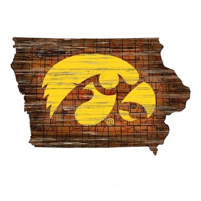 "NCAA Iowa Hawkeyes 12"" State Map Wood Sign"