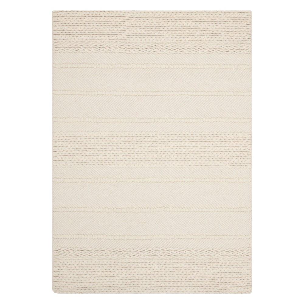 5'X8' Stripe Woven Area Rug Natural - Safavieh, White