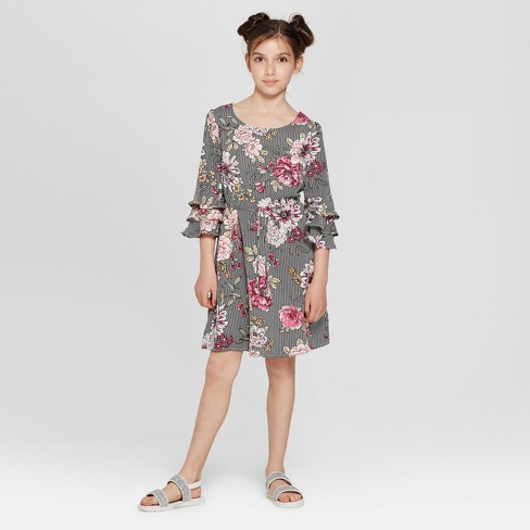 Lots of Love by Speechless Girls' All Over Floral Print Dress - Black - image 1 of 3