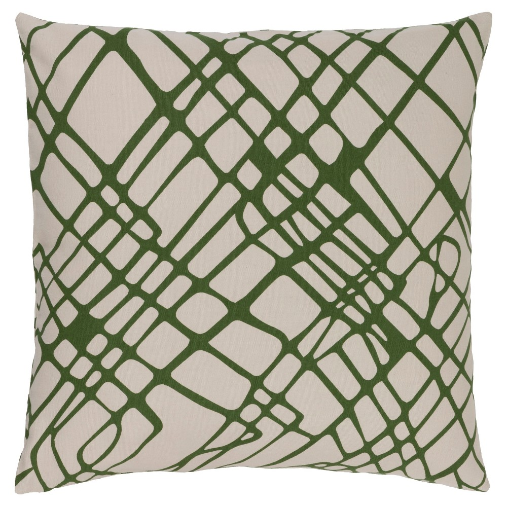 Green Abstract Lines Throw Pillow 22