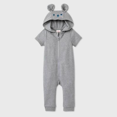 Baby Boys' Bear Short Sleeve Romper - Cat & Jack™ Gray 18M