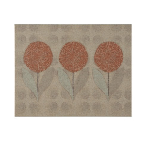 Mid Mod Flowers Print on Linen Unframed Wall Canvas Orange - image 1 of 4