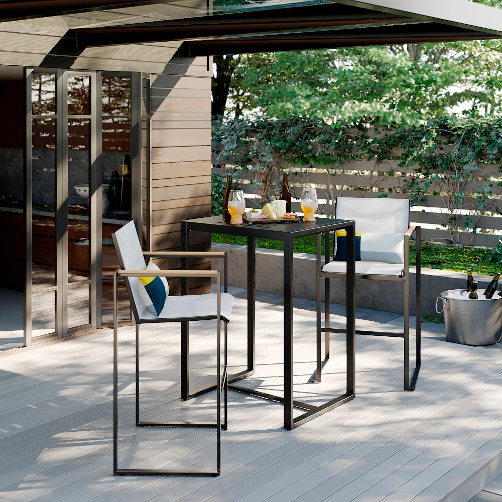 Henning 3pc Patio Bar Height Set White Project 62 8482