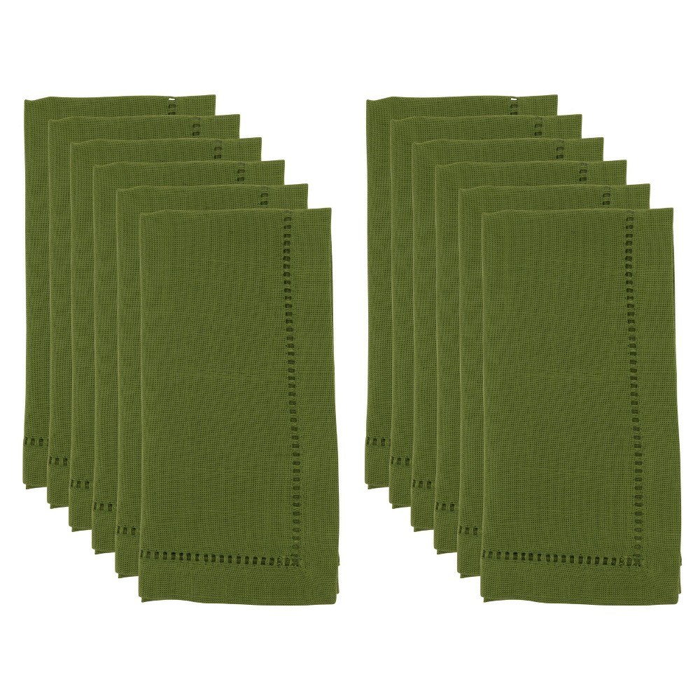 "Image of ""20"""" 12pk Polyester Hemstitch Border Dinner Napkins Green - Saro Lifestyle"""