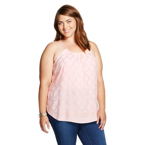Women's Plus Size Embellished Strappy Tank Peach - Knox Rose™ - image 1 of 2