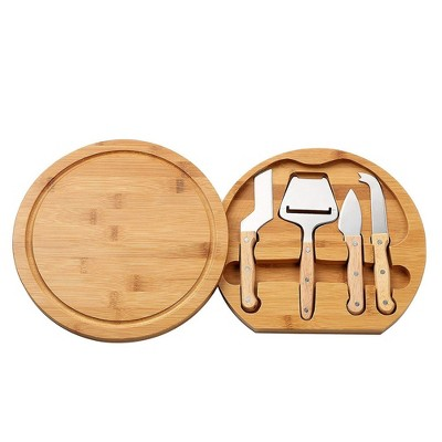 """Juvale Cheese Board and Knife Set, Bamboo Charcuterie Board & 4 Stainless Steel Utensils, Swivel Storage Tools Stored Neatly Inside, 10.2"""" in Diameter"""