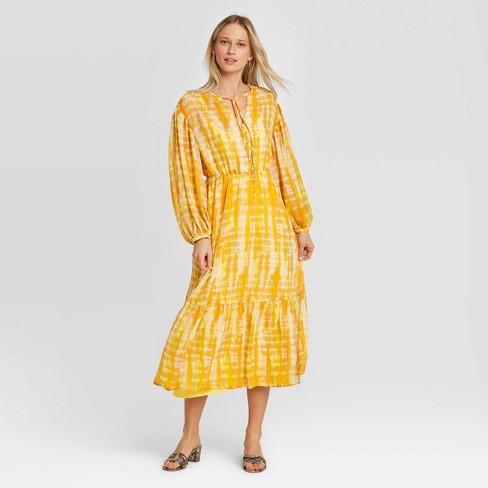 Women's Long Sleeve Split Neck Midi Dress - Who What Wear™ Yellow - image 1 of 3