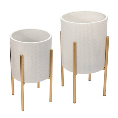 Set of 2 Textured Planter on Metal Stand - Sagebrook Home