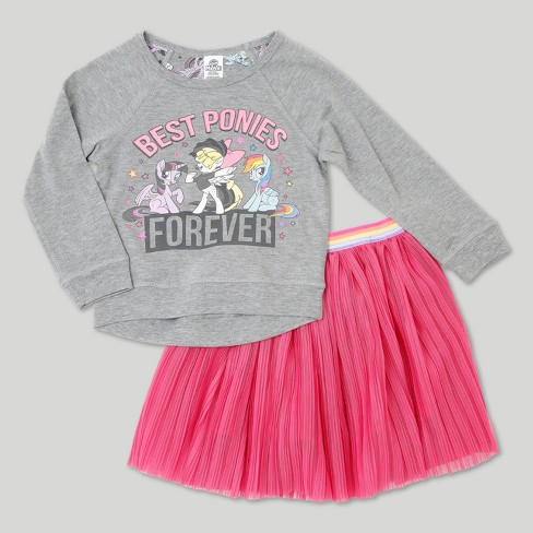 Toddler Girls' My Little Pony Top And Bottom Set - Heather Gray - image 1 of 8