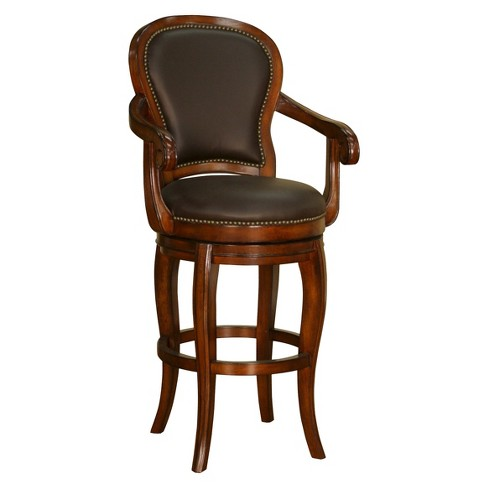 Remarkable 26 Santos Swivel Genuine Leather Counter Stool Hardwood Chocolate American Heritage Billiards Alphanode Cool Chair Designs And Ideas Alphanodeonline
