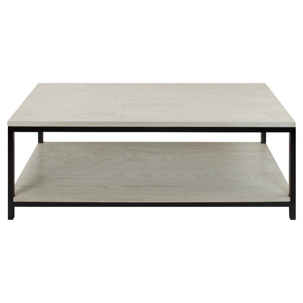 Coffee Table - Solid Red Oak Top & Shelf - White Wash - Flora Home