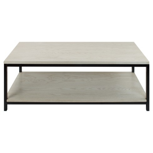 Coffee Table Solid Red Oak Top Shelf White Wash Flora Home