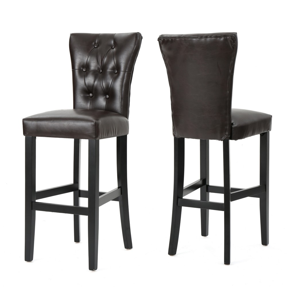 Pia Barstool (Set of 2) - Brown Leather - Christopher Knight Home